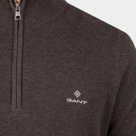 Gant Mens Grey Cotton Pique 1/2 Zip main image
