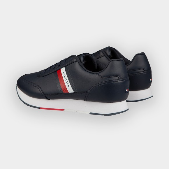 Tommy Hilfiger Mens Blue Essential Stripes Leather Runner Trainer main image