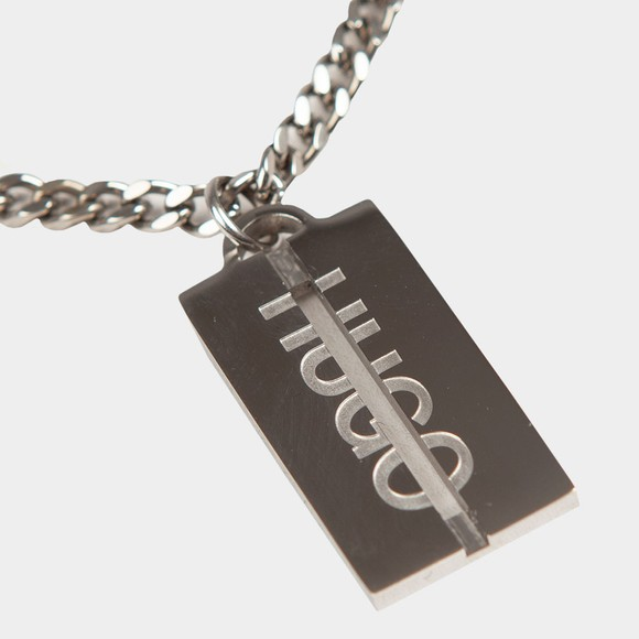 HUGO Mens Silver E Cut Necklace