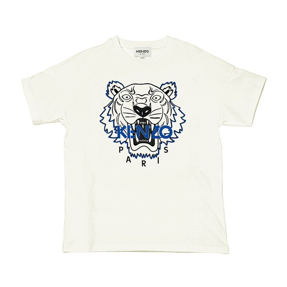 Kenzo Kids Boys Off-White K25188 Embroidered T Shirt