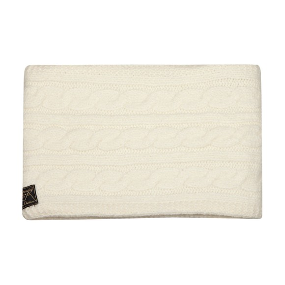 Superdry Womens White Tweed Cable Snood