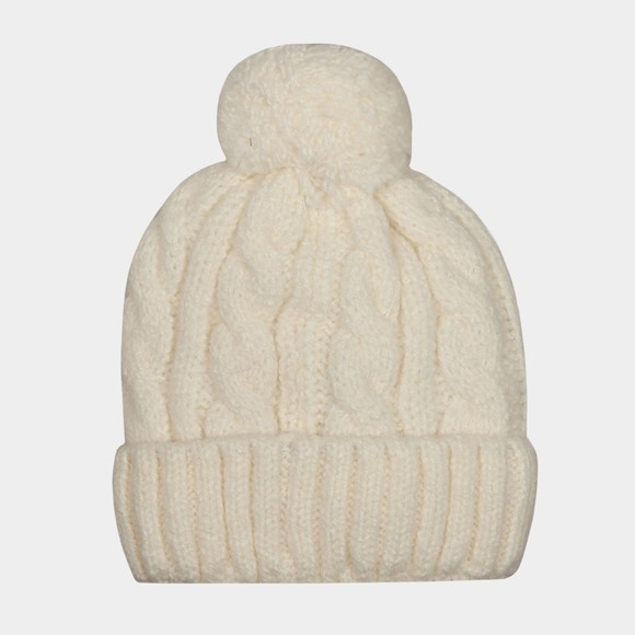 Superdry Womens White Tweed Cable Beanie
