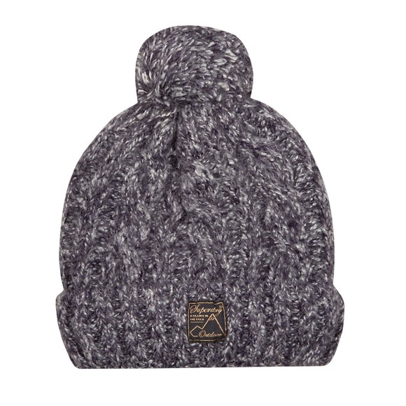 Superdry Womens Blue Tweed Cable Beanie