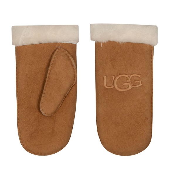 Ugg Womens Brown Shearling Embroidered Mitten
