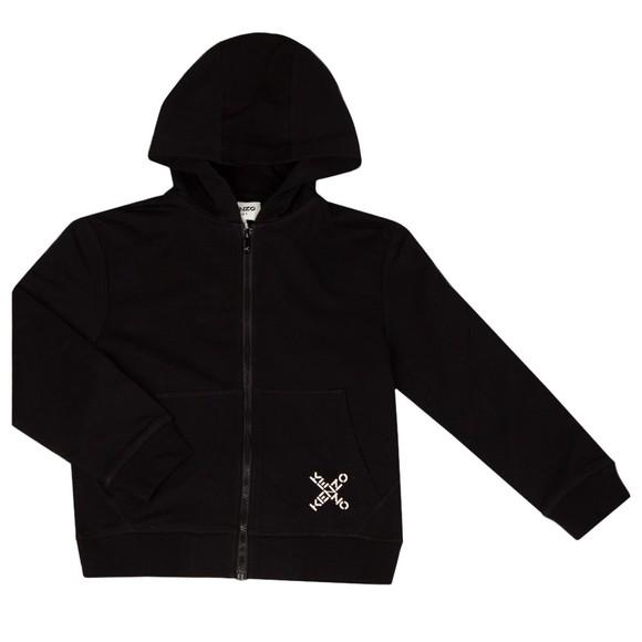 Kenzo Kids Girls Black Cross Logo Zip Hoody