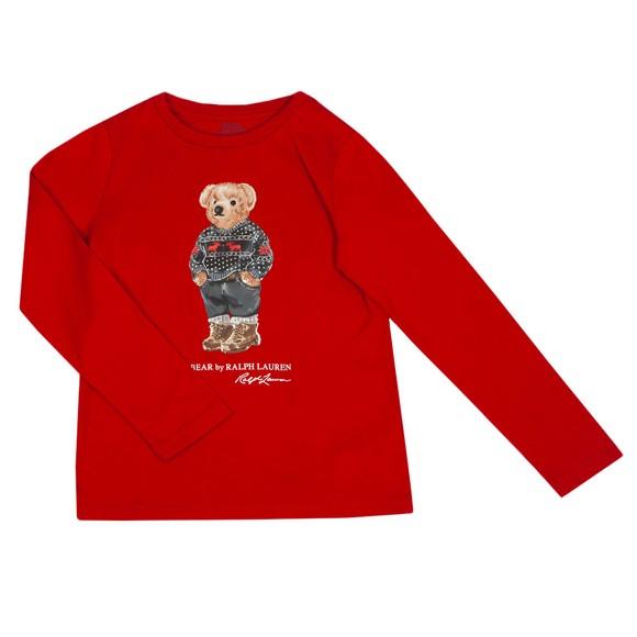 Polo Bear By Ralph Lauren Girls Red Christmas Bear Long Sleeve T-Shirt