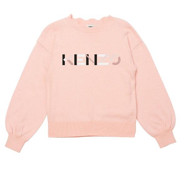 Kenzo Kids Girls Pink K15119 Logo Jumper