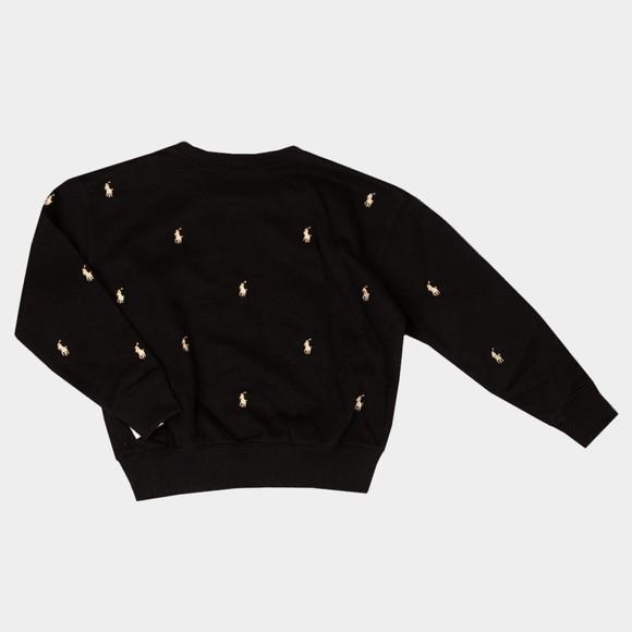 Polo Ralph Lauren Girls Black Allover Logo Sweatshirt