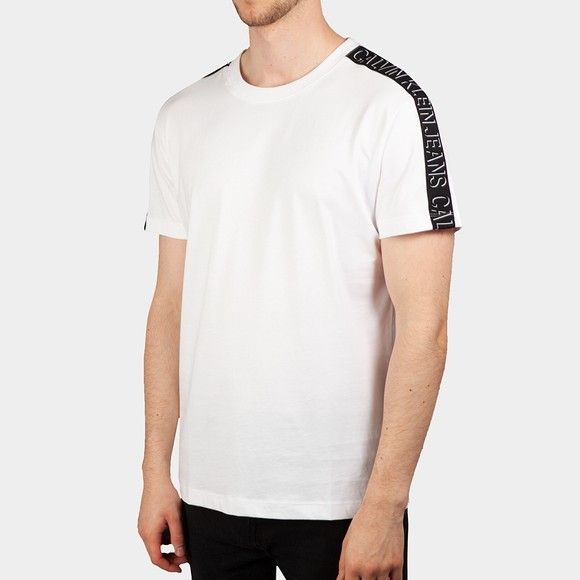 Calvin Klein Jeans Mens White Shadow Shoulder Tape T-Shirt main image