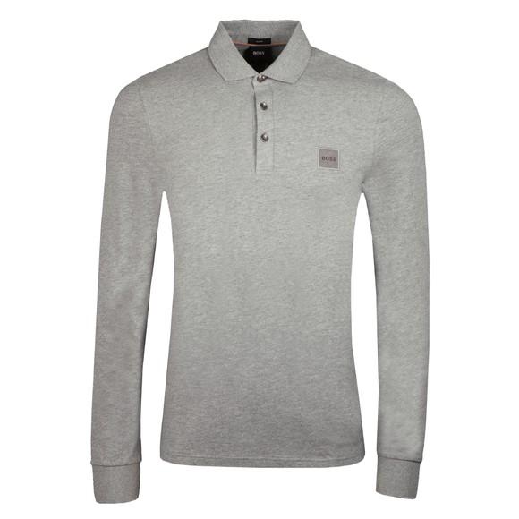 BOSS Mens Grey Casual Passerby 1 Long Sleeve Polo Shirt