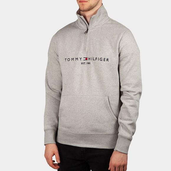 Tommy Hilfiger Mens Grey Logo Mockneck Half Zip