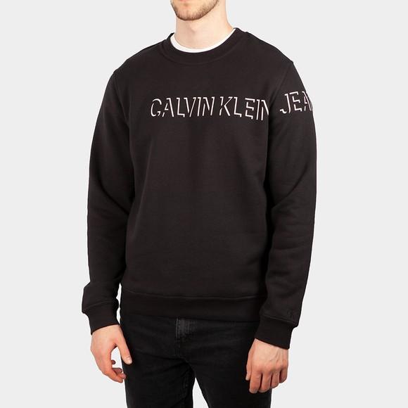 Calvin Klein Jeans Mens Black Shadow Logo Crewneck