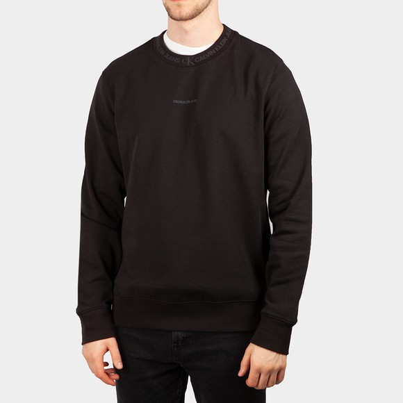 Calvin Klein Jeans Mens Black Logo Jacquard Sweatshirt