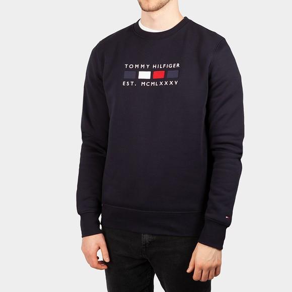 Tommy Hilfiger Mens Blue Four Flags Crew Sweatshirt