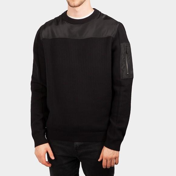HUGO Mens Black Syoke Knitted Jumper
