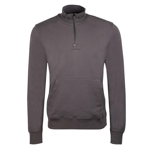Calvin Klein Jeans Mens Grey Jacquard 1/2 Zip Sweatshirt