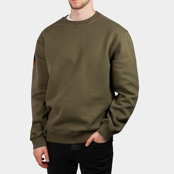 Maharishi Mens Green Panther Patch Crew Neck Sweatshirt