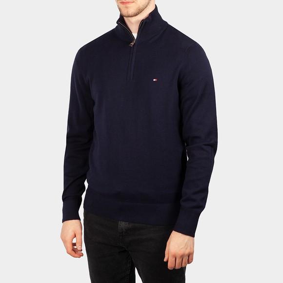 Tommy Hilfiger Mens Blue Pima Cashmere Half Zip