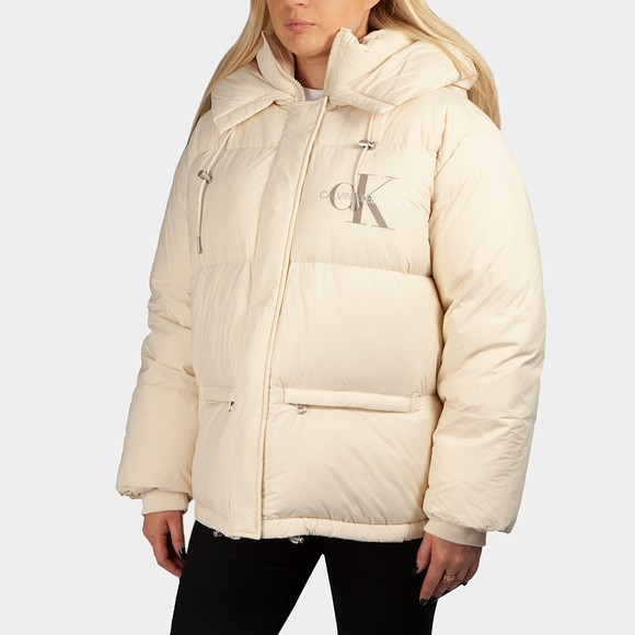 Calvin Klein Jeans Womens Off-White Oversized Down Puffer