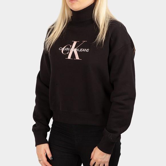 Calvin Klein Jeans Womens Black Monogram Roll Neck
