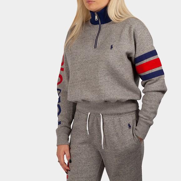Polo Ralph Lauren Womens Grey Half Zip Stripe Sleeve Sweat
