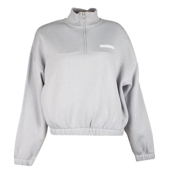 Calvin Klein Jeans Womens Grey Micro Flock Half Zip Sweatshirt