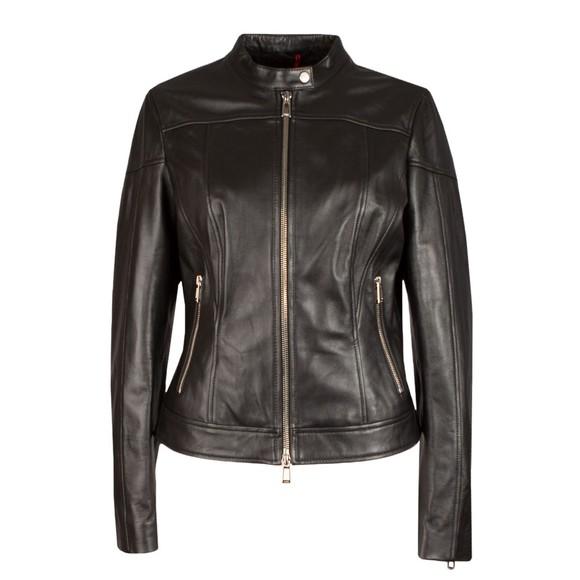 HUGO Womens Black Lasena Leather Jacket