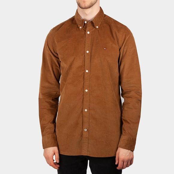 Tommy Hilfiger Mens Brown Slim Flex Corduroy Shirt