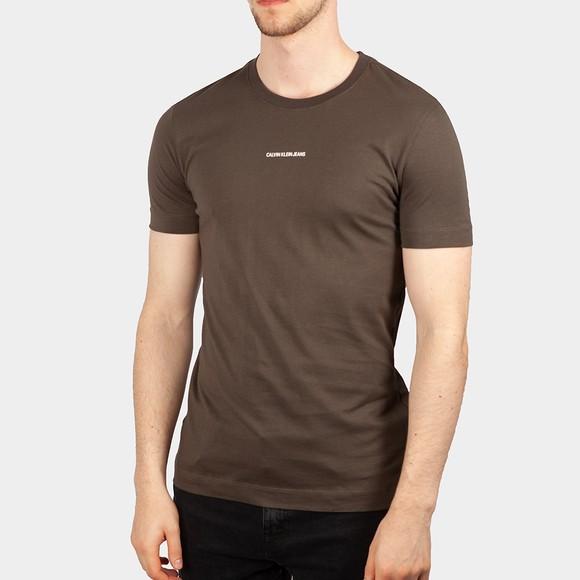 Calvin Klein Jeans Mens Green Micro Branding Essential T-Shirt