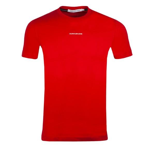 Calvin Klein Jeans Mens Red Micro Branding Essential T-Shirt
