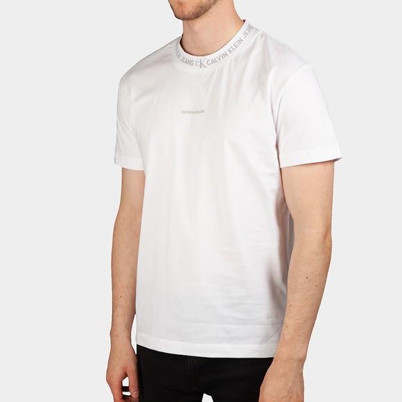 Calvin Klein Jeans Mens White Logo Jacquard T Shirt