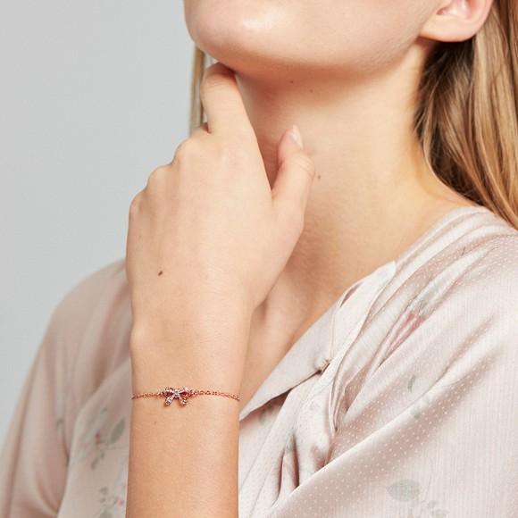 Ted Baker Womens Pink Carsaa Crystal Bow Drawstring Bracelet
