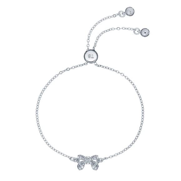 Ted Baker Womens Silver Carsaa Crystal Bow Drawstring Bracelet