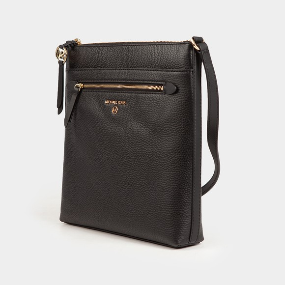 Michael Kors Womens Black Jet Set Charm Front Zip Crossbody Bag