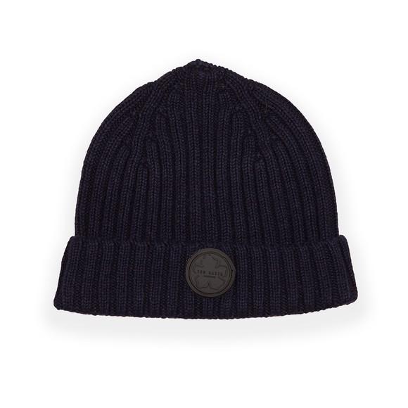 Ted Baker Mens Blue Tolton Rib Beanie Hat