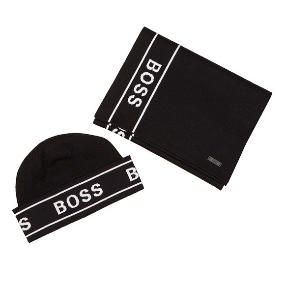 BOSS Mens Black Formal Ulfino Hat & Scarf Set