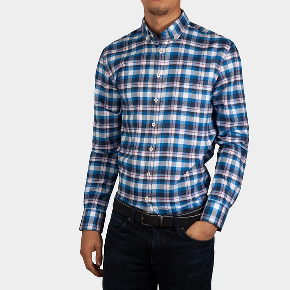 Fynch Hatton Mens Blue Flannel Check Shirt