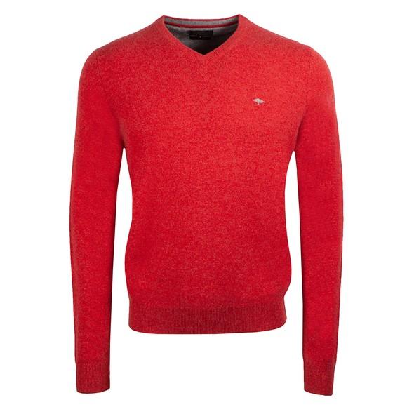 Fynch Hatton Mens Red Merino Cashmere Jumper