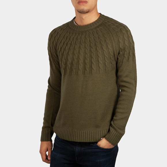 Pretty Green Mens Green Military Knitted Jumper