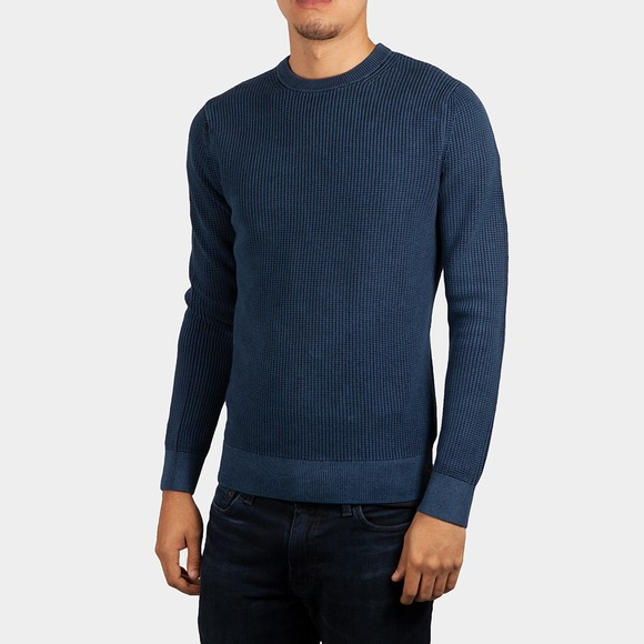 Superdry Mens Blue Academy Dyed Textured Crew