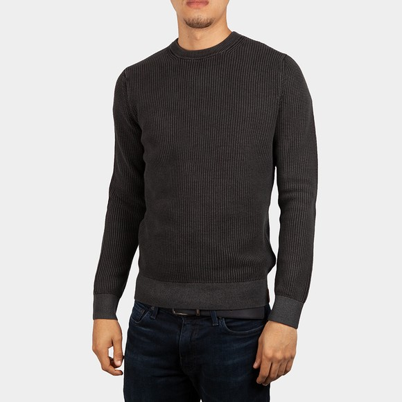 Superdry Mens Black Academy Dyed Textured Crew