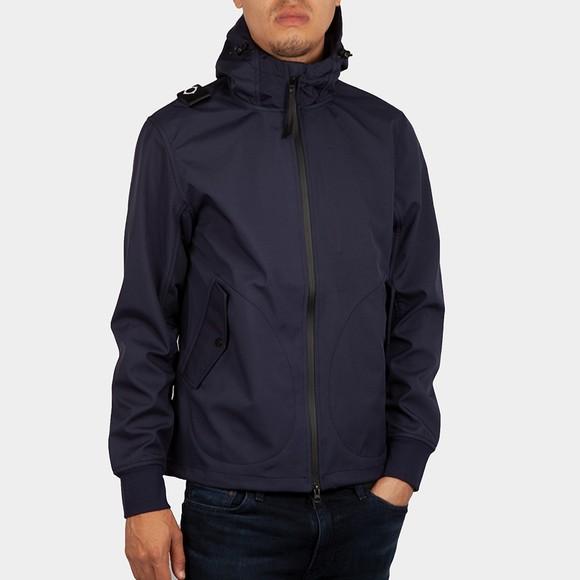 Ma.Strum Mens Blue Softshell Full Zip Hooded Jacket