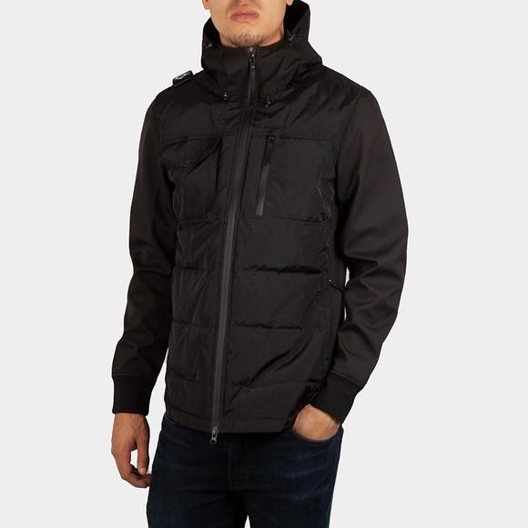Ma.Strum Mens Black Softshell Down Quilt Hooded Jacket