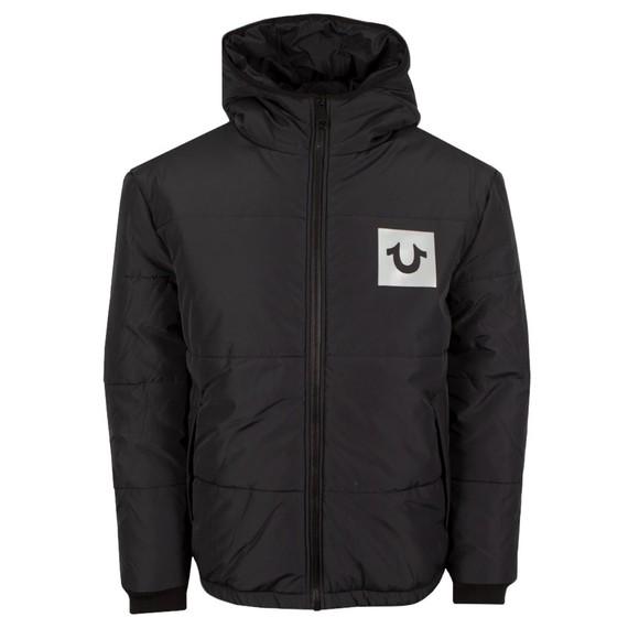 True Religion Mens Black Puffer Hooded Jacket