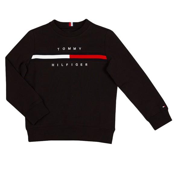 Tommy Hilfiger Kids Boys Black Flag Rib Insert Sweatshirt