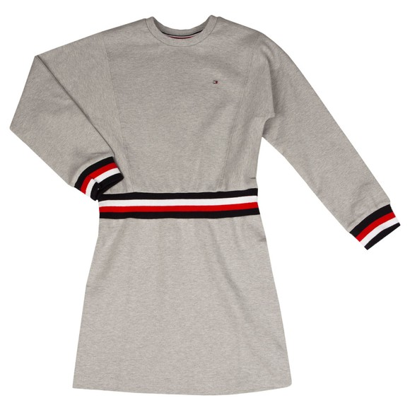 Tommy Hilfiger Kids Girls Grey Global Stripe Sweatshirt Dress