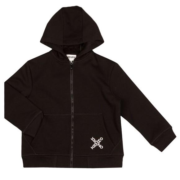 Kenzo Kids Girls Black K25123 Cross Logo Fleece Hoody