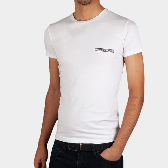 Emporio Armani Mens White Block Logo Stretch Crew T Shirt