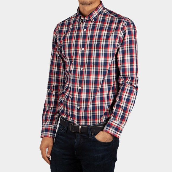 Gant Mens Red Oxford Indigo Check Shirt