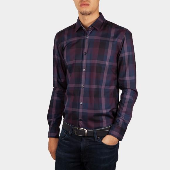 BOSS Mens Purple Formal Ronni 53F Check Shirt